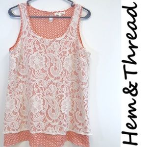 Anthropologie Hem & Thread lace floral peachy tank